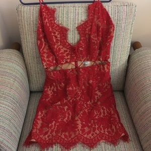 Tobi red lace dress with cutouts